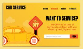 Landing page of car service with yellow color