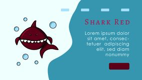 Landing page concept. Red shark cartoon character. Logo fish and bubbles. Mascot. Web site or banner layout. Blue background. vector illustration