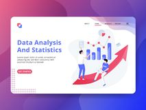 Landing Page Data Analysis And Statistics. The concept of people analyzing data, can be used for landing pages, web, UI, banners, templates, backgrounds royalty free illustration