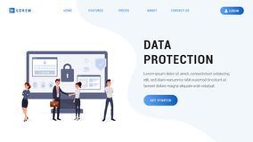 Landing page data protection. Concept. Business people with secure screen. People protect their data on device flat design vector illustration stock illustration