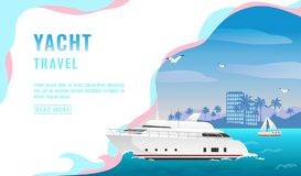 Landing page design, banner with luxury yacht travel concept, tourism, white beautiful passenger ship, coastline with. Skyscrapers and palm trees, vector stock illustration