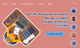 Landing page design. Online education. Training profession fashion designer-illustrator online royalty free illustration