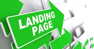 Landing Page on Green Arrow. stock photography