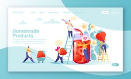 Concept of landing page on homemade products theme. Concept of jam production. Happy flat people character making tasty, handmade organic strawberry jam in a vector illustration