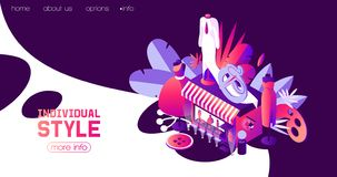 Landing page for individual sewer or woman clothes atelier in dark blue night scene. Vector concept isometric illustration good. For web pages and fashion royalty free illustration