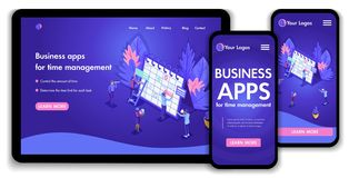 Landing page Isometric Concept business analysis, virtual technologies. Website template design. Easy to edit and customize vector illustration