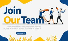 Landing page for job interviews with the words JOIN OUR TEAM, concept vector ilustration. can use for page, template, ui, web, mob. Ile app, poster, banner royalty free illustration