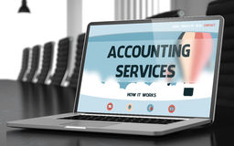 Landing Page of Laptop with Accounting Services Concept. 3D. Royalty Free Stock Photos