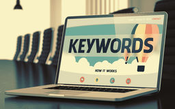 Landing Page of Laptop with Keywords Concept. 3D. Stock Photography