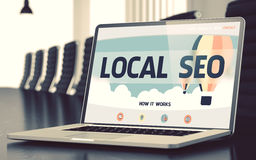 Landing Page of Laptop with Local SEO Concept. 3D. Stock Photo