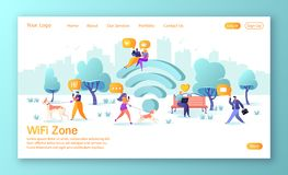 Wi-fi, wireless, network landing page template. People using smartphone and laptop during the walk in the park. Vector illustration for website or web page. Wi royalty free illustration