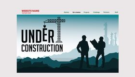 Landing page mining. Landing page for mining and industries company stock illustration