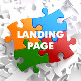 Landing Page on Multicolor Puzzle. Royalty Free Stock Image