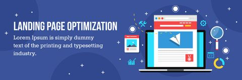 Landing page optimization - home page seo. Flat vector illustration. Concept of landing page optimization for better conversion. Flat design vector banner for Stock Images