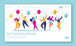 Concept of landing page with group of happy, joyful people celebrating holiday, event. Man and woman characters in holiday cap dancing, with confetti and stock illustration