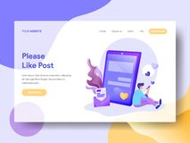Landing Page Please Like Post vector illustration