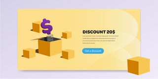 Landing page with promotion vector illustration flat. Landing page with promotion vector illustration. Dollar jump suprise stock illustration
