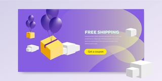 Landing page with promotion vector illustration flat vector illustration