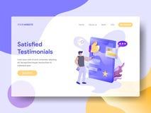 Landing Page Satisfied Testimonials stock illustration