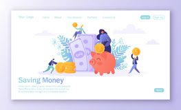 Concept of landing page on finance theme. Flat people, business characters collecting coins into the pink piggy bank. Characters m royalty free illustration
