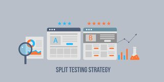 Landing page - split test - ab test for audience interaction development, digital marketing strategy. Flat design banner. Modern concept of split testing to vector illustration