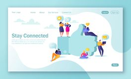 Concept of landing page for mobile website development and web page design. Flat people characters chatting in social networks nea. R big symbolemoji Like vector illustration