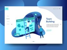 Landing Page Team Building. The concept of men building projects on the board, can be used for landing pages, web, ui, banners, templates, backgrounds, flayer vector illustration