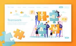 Concept of landing page for mobile website development and web page design. Vector illustration business teamwork concept. Flat people characters with pieces stock illustration