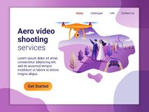 Landing page template of Aerial video shoot service. The Flat design concept of web page design for a mobile website. Drone fly. Landing page template of Aerial vector illustration