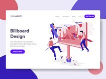 Landing page template of Billboard Design Process Illustration Concept. Isometric flat design concept of web page design for vector illustration