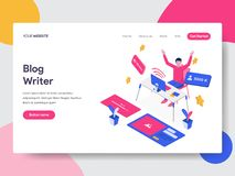 Landing page template of Blog Writer Illustration Concept. Isometric flat design concept of web page design for website and mobile stock illustration