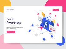 Landing page template of Brand Awareness Illustration Concept. Isometric flat design concept of web page design for website and royalty free illustration