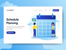 Landing page template of Businessman doing Schedule Planning. Modern flat design concept of web page design for website and mobile royalty free illustration