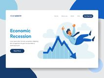Landing page template of Businessman with Economic Recession Illustration Concept. Modern flat design concept of web page design vector illustration