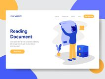 Landing page template of Businessman Reading Document Illustration Concept. Modern flat design concept of web page design for vector illustration
