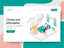 Landing page template of Cheap and Affordable Illustration Concept. Isometric design concept of web page design for website and stock illustration