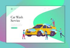 Landing page template cleaning vehicle with special equipment. Car wash service, automatic carwash concept. Vector flat. Landing page template people cartoon vector illustration