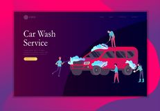 Landing page template cleaning vehicle with special equipment. Car wash service, automatic carwash concept. Vector flat. Landing page template people cartoon royalty free illustration