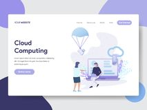 Landing page template of Cloud Computing Illustration Concept. Modern flat design concept of web page design for website and. Mobile website.Vector illustration royalty free illustration