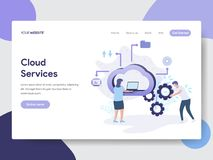 Landing page template of Cloud Services Illustration Concept. Modern flat design concept of web page design for website and mobile vector illustration