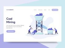 Landing page template of Coal Mining Illustration Concept. Isometric flat design concept of web page design for website and mobile vector illustration