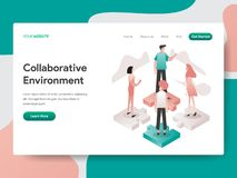 Landing page template of Collaborative Environment Illustration Concept. Isometric design concept of web page design for website stock illustration