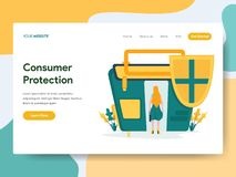 Landing page template of Consumer Protection Illustration Concept. Modern Flat design concept of web page design for website and royalty free illustration