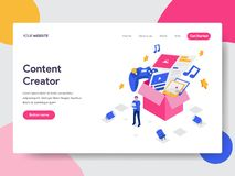 Landing page template of Content Creator Illustration Concept. Isometric flat design concept of web page design for website and. Mobile website.Vector royalty free illustration