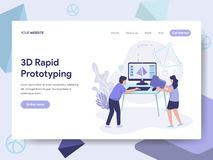 Landing page template of 3d Rapid Prototyping Illustration Concept. Isometric flat design concept of web page design for website royalty free illustration