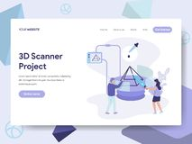 Landing page template of 3D Scanner Illustration Concept. Isometric flat design concept of web page design for website and mobile stock illustration