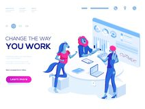 People work in a team and interact. Landing page template. 3d vector isometric illustration. People work in a team and interact with graphs. Business, workflow stock illustration