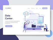 Landing page template of Data Center Illustration Concept. Modern flat design concept of web page design for website and mobile. Website.Vector illustration royalty free illustration