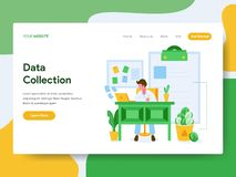 Landing page template of Data Collection Illustration Concept. Modern Flat design concept of web page design for website and. Mobile website.Vector illustration royalty free illustration