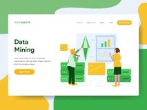 Landing page template of Data Mining Illustration Concept. Modern Flat design concept of web page design for website and mobile stock illustration